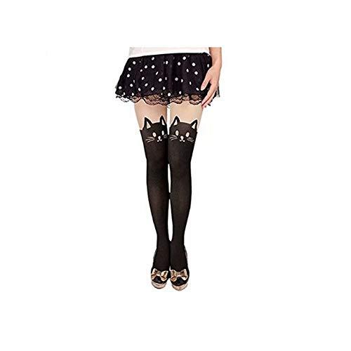 MACHEE Women's Cat Tail Hosiery Pantyhose Tattoo Legging Tights (Black), One Size (85-98cm)