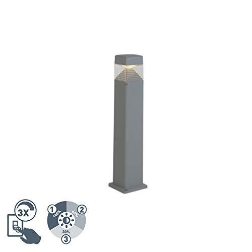 QAZQA Modern Moderner Außenmast grau 80 cm inkl. LED IP55 - Ester Dimmer/Dimmbar/Außenbeleuchtung Kunststoff Quadratisch LED geeignet GX53 Max. 1 x 3 Watt