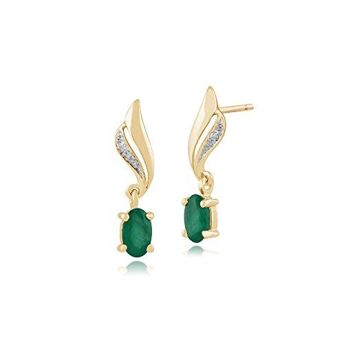 Gemondo Damen-Ohrringe, 375 Gold, 9 Karat Gelbgold, ovaler Smaragd und Diamant, Wirbel-Design, Grün