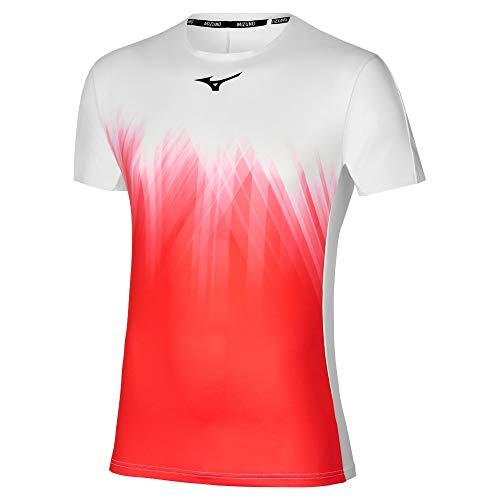 Mizuno Shadow Graphic - Camiseta para Hombre, White/Ignition Red, XL