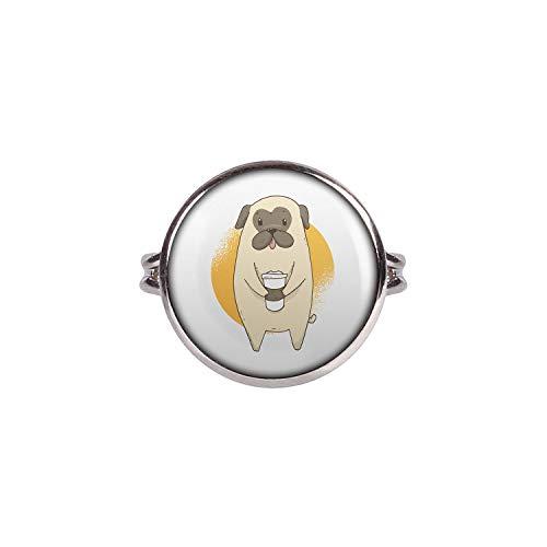 Mylery Ring mit Motiv Mops Hund Pug Süß Kaffee-Becher Silber 16mm