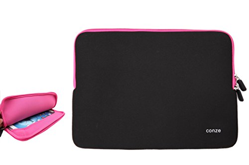 Conze 15 inch Universal Water-Resistant Neoprene Carrying Sleeve Case Compatible with Acer Aspire E5-523/ES15/VX 15/VN7-592G/TravelMate P459,Dell XPS 15 9550/9560/Latitude 15 3560/3570 in Pink