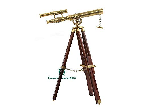 RII Vintage Brass Telescope with Tripod Stand/Antique Desk Top Telescope for Home Decor/Nautical Spyglass Telescope for Navy and Outdoor Adventures