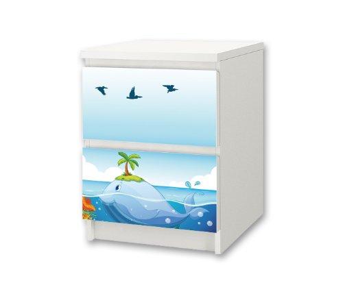 Undervattensvärld möbelklistermärke/dekal för barnkammare kommode/nattbord MALM från IKEA – NS38 – möbler ingår inte   STIKKIPIX
