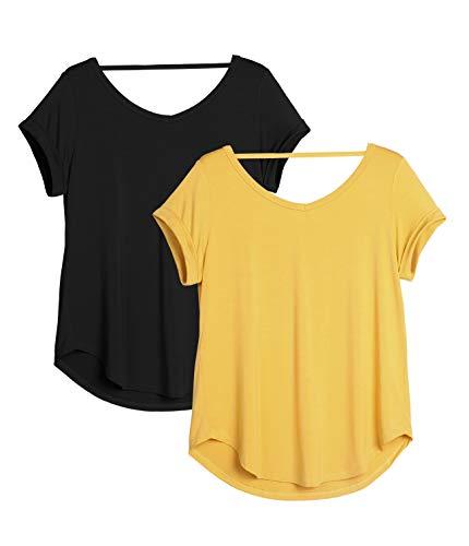 icyzone Camiseta de Yoga Deportiva de Manga Corta de Espalda Abierta para Mujer, Pack de 2 (S, Negro/Diente de león)