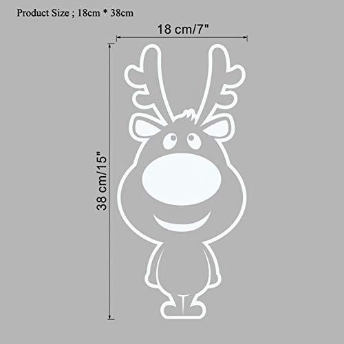 WYLYSD Weihnachtswandaufkleber Weißer Wandaufkleber der Karikatur-Weihnachtsrotwild für wasserdichte Tierglastüraufkleber der Weihnachtshauptdekorationabziehbilder