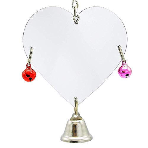 tangyuandain - Espejo de plástico con Campana, diseño de Loro con Forma de corazón, Juguete Divertido para Loros pequeños y medianos, periquitos, cacatúas, pájaros, Conos (Color al Azar)