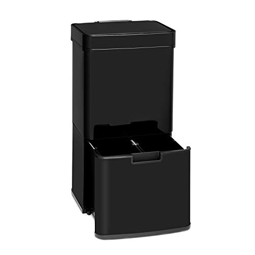 Klarstein Touchless – cubo de la basura de acero inoxidable con sensor, 72 litros con 4 compartimentos: 43 y 2 x 12,5 litros, cubo bio con tapa: 4 litros, apertura y cierre automáticos, negro