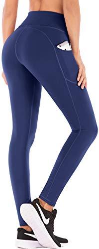 IUGA High Waist Yoga Pants with Pockets, Tummy Control Yoga Capris for Women, 4 Way Stretch Capri Leggings with Pockets (Blue 8401, Medium)