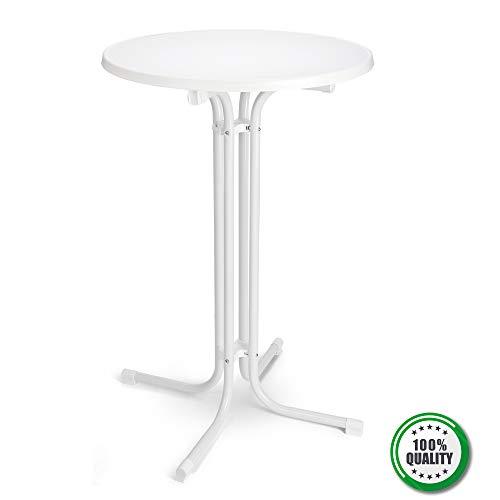 BeFair Stehtisch Nico Klappbar Ø 70 cm Bistrotisch Partytisch Rund Weiß Klapptisch Vormontiert mit 4 Haken für Jacken oder Taschen