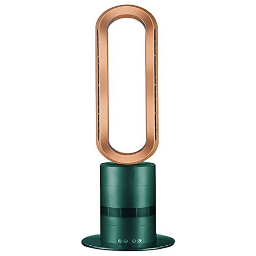 Ventilador de calefacción sin hoja, 3 niveles regulables con mando a distancia, radiador de cerámica PTC y ventilador de circulación de aire, apto para salón, oficina, dormitorio, color verde