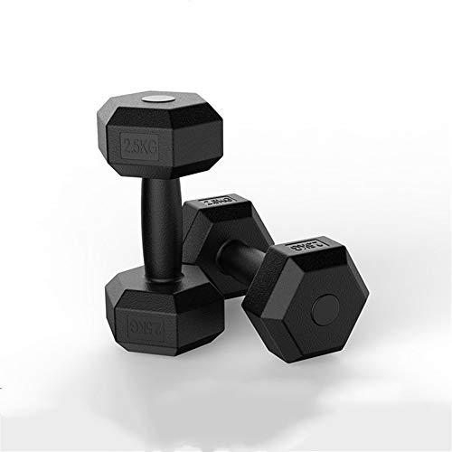 KDOAE Dumbbells de Yoga Gimnasio con Mancuernas Hexagonal Yoga Entrenamiento de Dumbbell Unisex de la Pesa de 5 kg Par para el Ejercicio de Gimnasio en casa. (Color : Black, Size : 25x8cm)