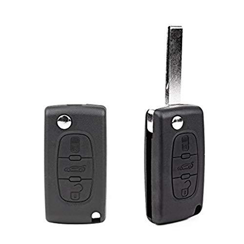 Nicedier-Tech - Carcasa para Llave de Coche, 3 Botones, Mando a Distancia, Carcasa para Peugeot 207, 307, 407, 308, 607