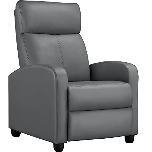 Yaheetech Recliner Chair PU Leather Recliner Sofa Home Theater Seating with Lumbar Support Overstuffed High-Density Sponge Push Silver Gray Recliners