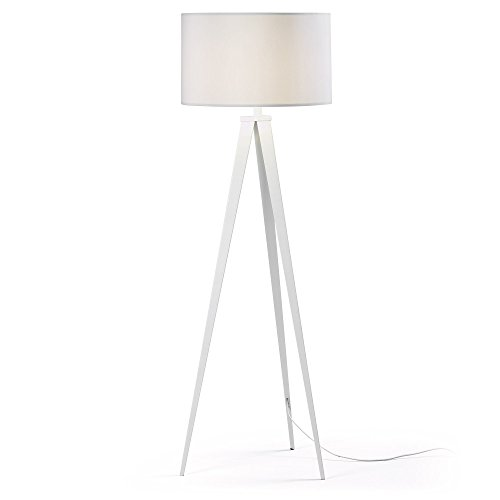 Kave Home - Lámpara de pie Iguazu blanca de acero y algodón 100%