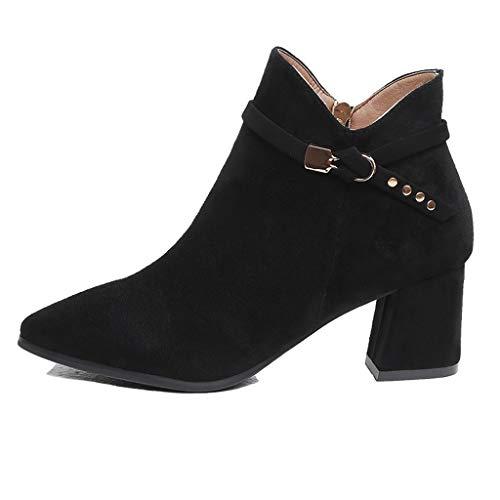 Hotopick Dameslaarsjes voor dames, halflaarzen, bootie enkellaars, wollige laarzen van suède met spitse hak en ritssluiting aan de zijkant