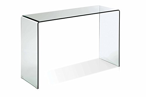 Creative Images International Glass Collection Small Bent Glass Console Table, Clear