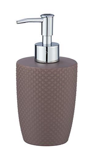 WENKO Seifenspender Punto - Flüssigseifen-Spender, Spülmittel-Spender Fassungsvermögen: 0,38 l, Keramik, 8,5 x 17,5 x 8,5 cm, taupe