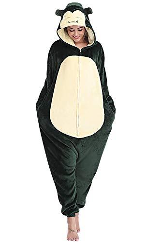 YAOMEI Adulto Unisexo Onesies Kigurumi Pijamas, Mujer Hombres Traje Disfraz Animal Pyjamas, Ropa de Dormir Halloween Cosplay Navidad Animales de Vestuario (Snorlax, XL)