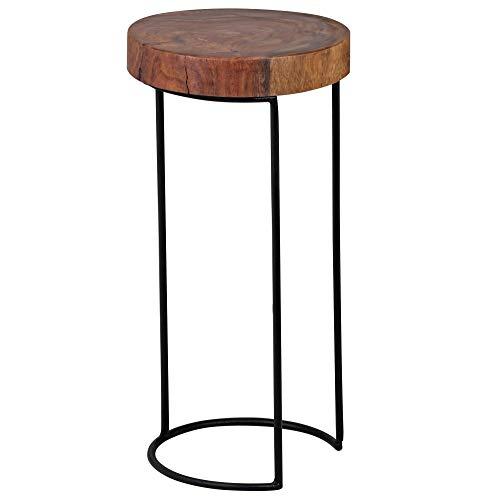WOHNLING Bijzettafel massief hout Sheesham woonkamertafel metalen poten landhuisstijl boomstamvorm echt hout natuurproduct salontafel modern aanzettafel uniek telefoontafel onbehandeld tafel rond