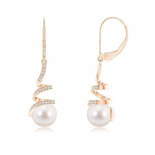 Negro viernes–En Espiral cinta Akoya perla cultivada Leverback Pendientes para mujeres con diamantes (8mm Akoya perla cultivada)