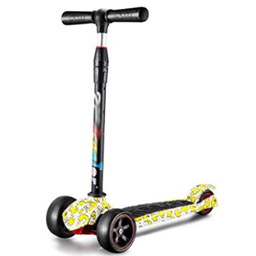 Dzwyc Scooter Scooters de Flash electromagnéticos para Chicas Plegables para niñas, 3 Altura Ajustable, Llantas de iluminación para niños de 3 años Patinetes (Color : Yellow)