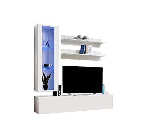 MEBLE FURNITURE & RUGS Wall Mounted Floating Modern Entertainment Center Fly H,...
