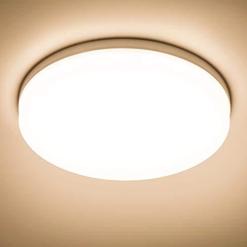 Yafido LED Deckenlampe Ultra Slim 48W 4320Lm UFO LED Panel 3000K Warmweiss LED Deckenleuchte für Wohnzimmer Schlafzimmer Flur Büro Küche Küche Balkon und Esszimmer Nicht-dimmbar Ø30 cm