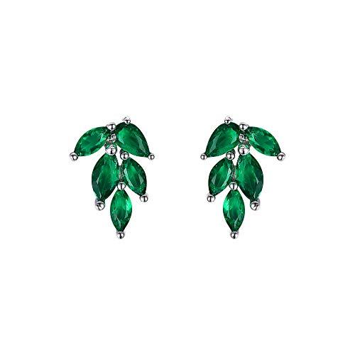 EVER FAITH Nature Leaf Stud Earrings Green Cubic Zirconia Cute Tiny Climber...