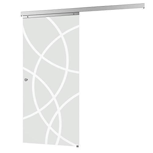 inova Glas-Schiebetür 880 x 2035 mm Kreis Design Alu Komplettset mit Lauf-Schiene und Griffknopf