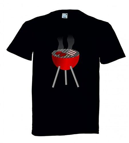 Camiseta de Manga Corta para Barbacoa, Hamburguesa, carbón Vegetal, para cocinar, para...