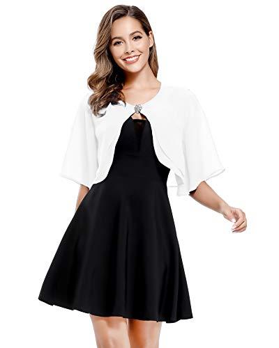 Women's Short Sleeve Open Front Soft Chiffon Shrug Cardigan for Evening Dresses (White, 2XL-3XL)