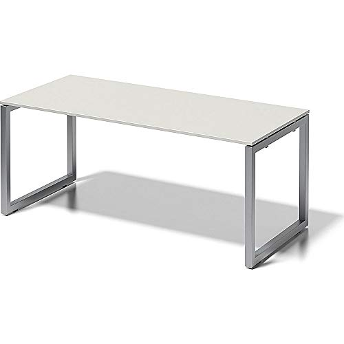BISLEY Cito Schreibtisch, 740 mm höhenfixes O, H 19 x B 1800 x T 800 mm, Metall, Gw355 Dekor Grauweiß, Gestell Silber, 80 x 180 x 85 cm