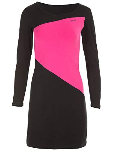 Winshape Damen Minikleid zeitloses A-Linien Street Style Sport Freizeit, schwarz-pink, XS, WK3