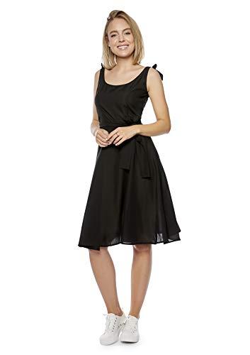 Damen Sommerkleid mit Trägern zum Binden (K4) f5488 Farbe: Kleid Schwarz K4(sw) Gr. 44