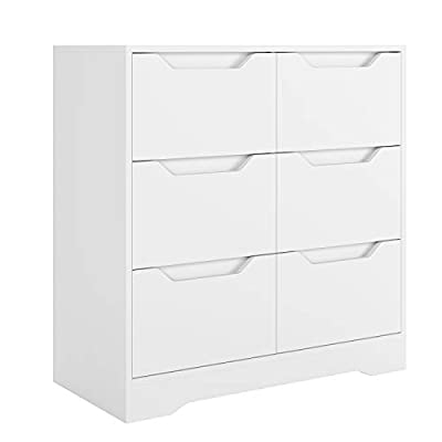 HOMECHO 6 Drawer Chest, Wide Storage Dresser with Cutout Handle, Wood Vertical Cabinet, Modern Nightstand Utility Organizer for Living Room, Bedroom, White