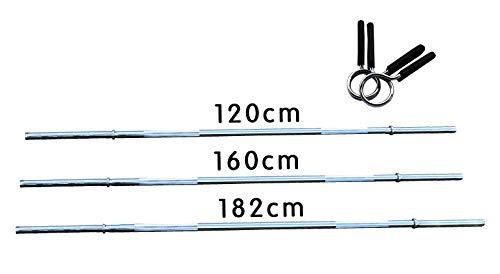 Lisaro Langhantel-Stange mit Schnell-Federverschlüssen 120/160/182 cm - Standardnorm gerändelt und verchromt | Scheibenaufnahme Ø 30 mm | Profi Langhantel (180)