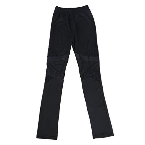Cotton Lace PU Leather Women Stitching Lace Stretch Legging Tight Pants Black