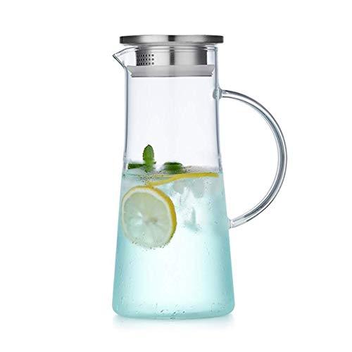 Glaskrug, Eisteekanne, große Wärmekapazität und langlebig, sehr geeignet für Eistee, Kaffee-, Milch- und Saftflaschen, leicht zu reinigen (Größe: 11 \u0026 Times; 25 \u0026 Times; 9 cm)