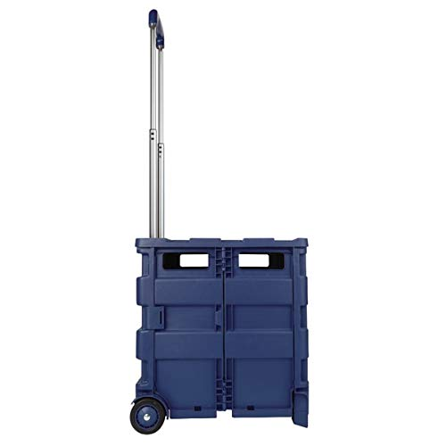 Office Depot Mobile Folding Cart with Lid, 16in.H x 18in.W x 15in.D, Blue, 50803 Photo #2