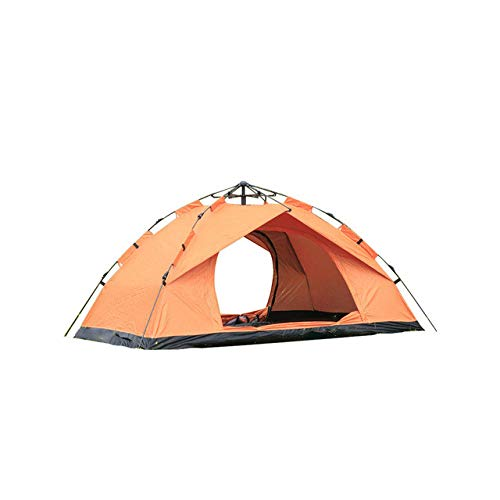 Mdsfe Automatic Pop Up Outdoor Family Camping Tents Seasons Tourist Tent Anti-Mosquito Nsect-Proof Ventilation Waterproof Camping Tent - Orange 1-2 people, A2
