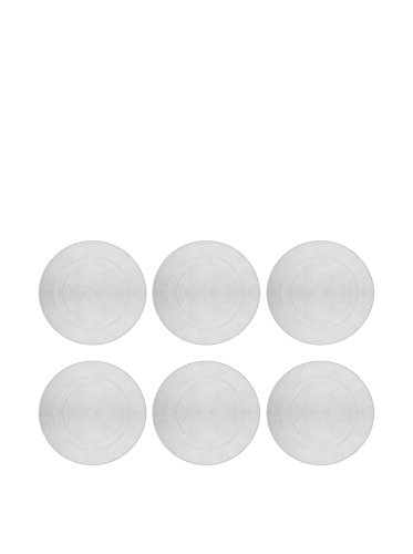 10 Strawberry Street Set of 6 Hammered Glass Chargers, Clear