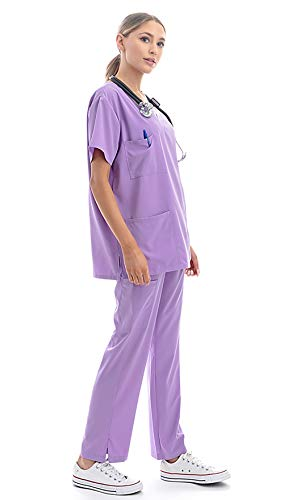 Banhada 7-Pocket V-Neck Top Medical Scrubs Set for Woman - 4 Way Stretch, Comfort, Light Weight Lavender, 4X