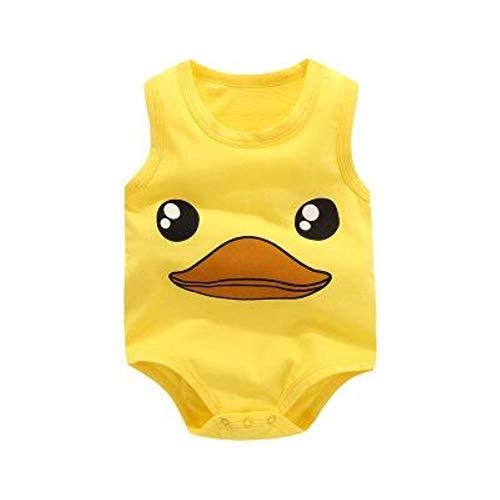 Body para bebé recién nacido con dibujos animados y sin mangas, chaleco de verano Amarillo Pato 12...
