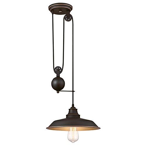 Westinghouse Lighting 6363200 Iron Hill One-Light Pulley Finish with Highlights and Metal Shade Indoor Pendant, 1, Oil Rubbed Bronze/Bronze