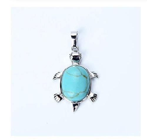 FKJSP 1 colgante de piedras naturales de tortuga animal para collar, chapado en plata, ojo de tigre y tortuga de ojo de tigre (color de metal: turquesa azul)