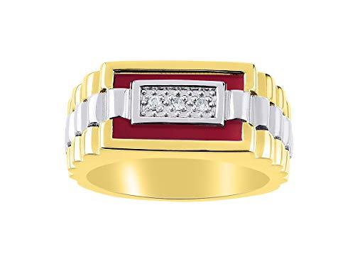 Juego de anillos de cuarzo y ónice rojo para hombre en oro blanco de 14 quilates. La piedra es especial para este anillo. Estilo de diseñador