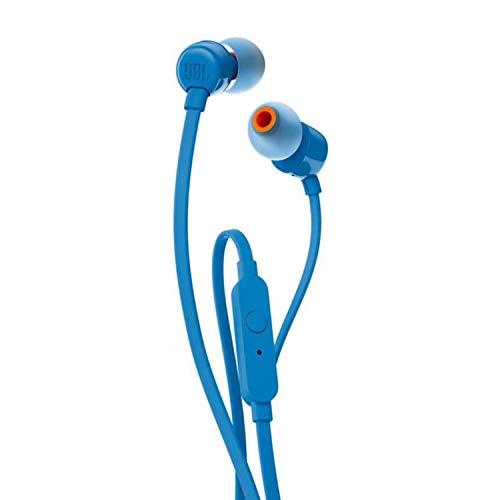 JBL Tune 110 – In-Ear Kopfhörer mit verwicklungsfreiem Flachbandkabel und Mikrofon in Blau – Für grenzenlosen Musikgenuss mit der Pure Bass Sound Technologie