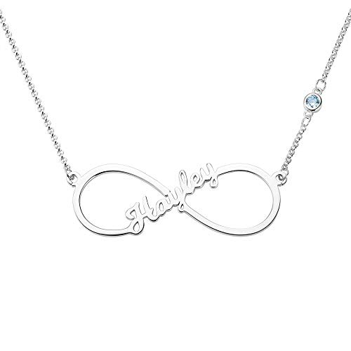 Grancey Infinity Name Necklace Personalised 1-8 Names and Birthstones in...