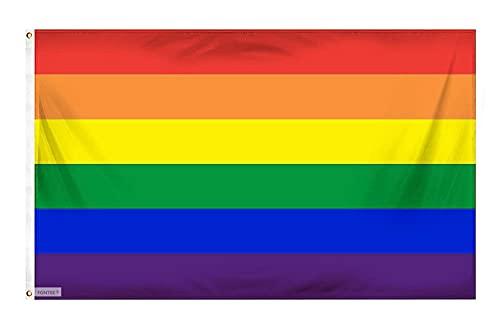 Fontee® [Gay Pride Bandiera [90X150cm] [Colori Vivaci] [Resistente allo sbiadimento UV] [Intestazione Tela] [Doppia Cucitura] [Anelli di Tenuta in Ottone Spesso] [Bandiera Arcobaleno]